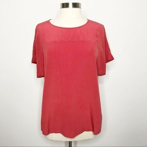 Madewell Silk Pleat Back Blouse Top Red Medium M